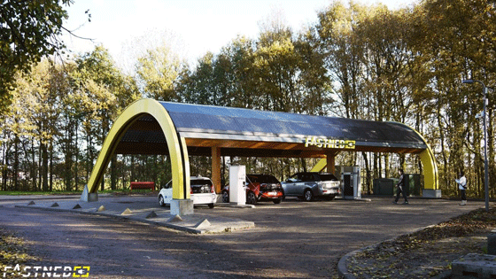 Old Fastned fast-charging station with vertical columns supporting the roof